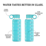 Load image into Gallery viewer, purifyou® Glass Water Bottle - Aqua Blue