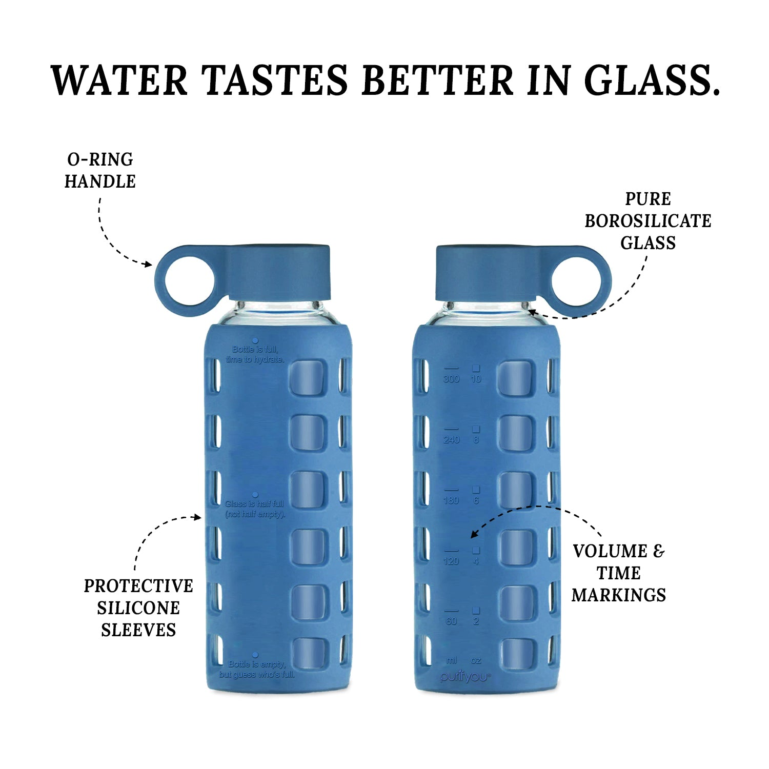 purifyou® Glass Water Bottle - Chinese Porcelain