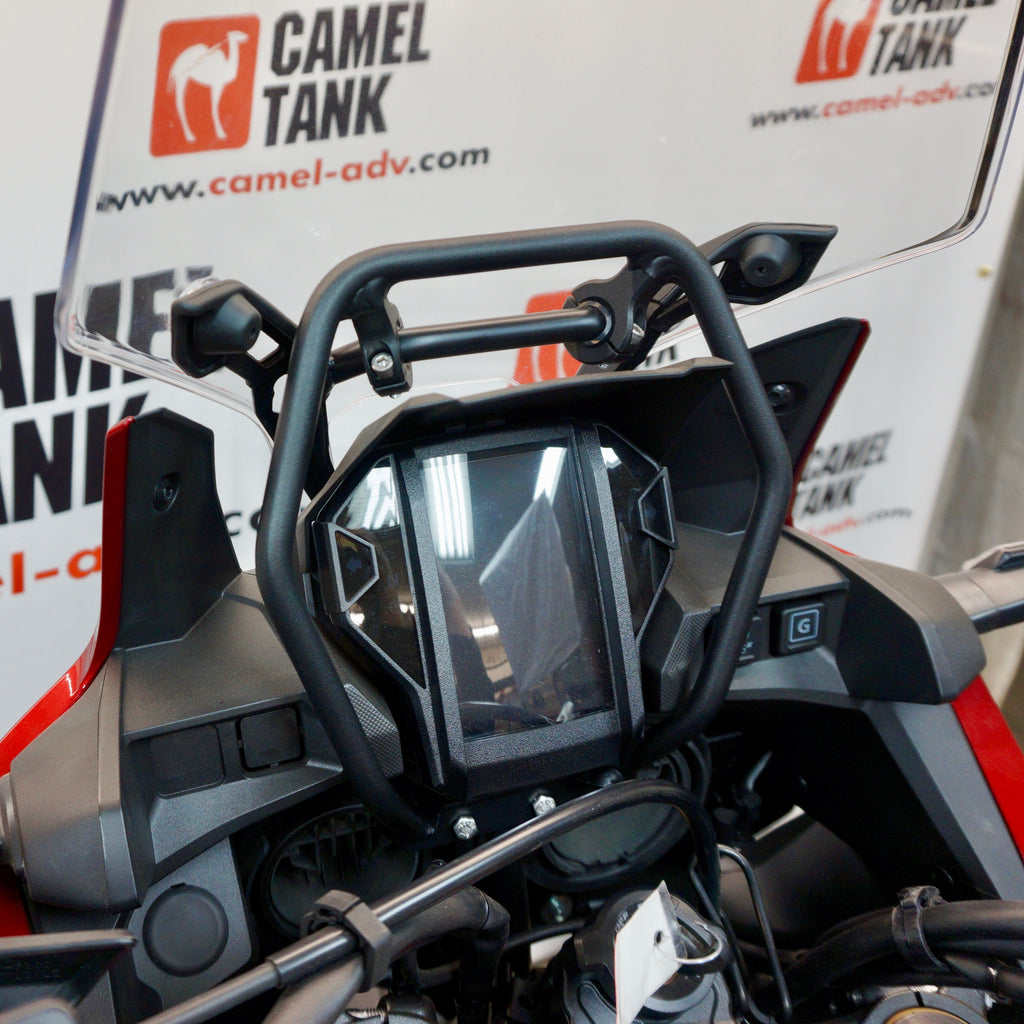 Camel ADV Honda Africa Twin windsceen windshield brace and GPS mount. No more broken welds