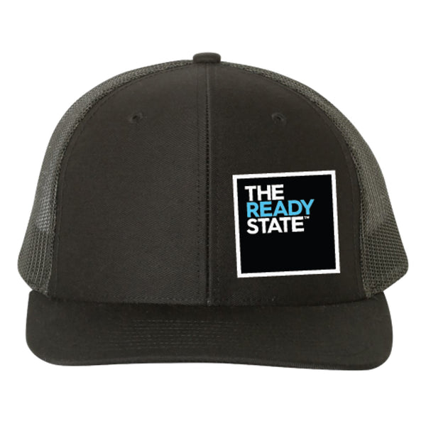 Black Square Logo Patch Trucker Hat