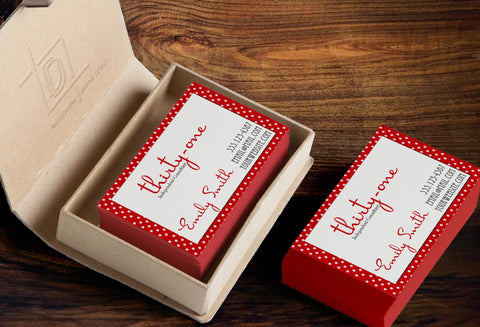 thirty-one Business Card Template - Independent Consultant Business Branding & Marketing - 31 Red and white dots Business card - digital detours
