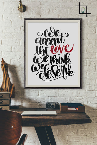 Accept love PDF Printable Wall Art - Digital Print - Handwritten Quote - digitaldetours