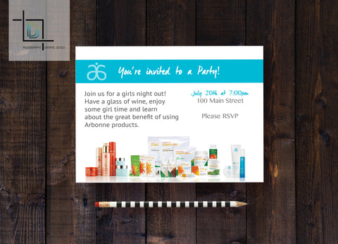 Arbonne PDF Party Invite - Independent Consultant Business Branding & Marketing - Arbonne Bottom Products Invite - digital detours