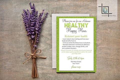 Arbonne PDF Party Invite - Independent Consultant Business Branding & Marketing - Arbonne Glitter Healthy Happy Hour invite - digital detours