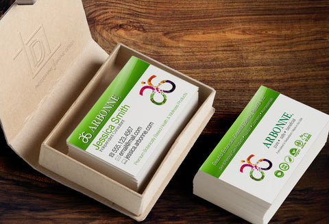 Arbonne 2-Sided Business Card Template - Independent Consultant Business Branding & Marketing - Arbonne Green Bar Business Card - digital detours