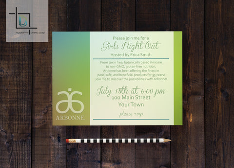 Arbonne PDF Party Invite - Independent Consultant Business Branding & Marketing - Arbonne Green Blurred Background Invite - digital detours