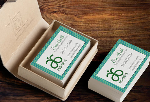 Arbonne Business Card Template - Independent Consultant Business Branding & Marketing - Arbonne Green Herringbone Business card - digital detours