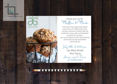 Arbonne PDF Party Invite - Independent Consultant Business Branding & Marketing - Arbonne Muffins and Masks Invite - digital detours