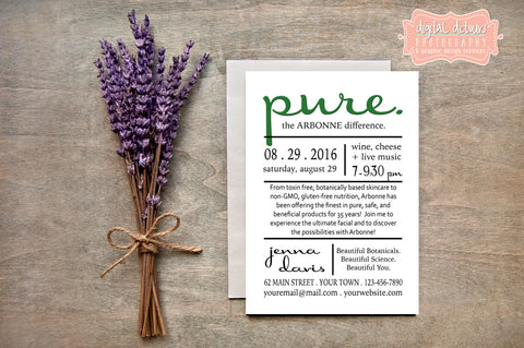 Arbonne Party Invite - Independent Consultant Business Branding & Marketing - Arbonne Pure Invite - digital detours