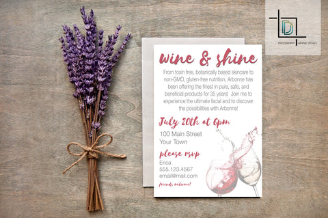 Arbonne PDF Party Invite - Independent Consultant Business Branding & Marketing - Arbonne Wine and Shine Invite - digital detours