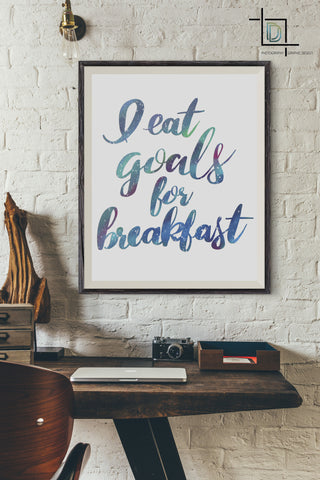 Breakfast Goals PDF Printable Wall Art - Digital Print - Handwritten Quote - digitaldetours
