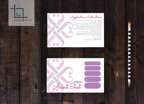 Jamberry Accent Sheet Card Template - Independent Consultant Business Branding & Marketing - Jamberry Heart Accent Nail Sheet - digital detours