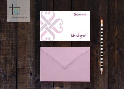 Jamberry Thank You Card - Independent Consultant Business Branding & Marketing - Jamberry Heart Notecard - digital detours