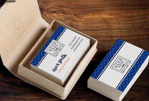 KEEP Collective 2-Sided Business Card Template - Independent Designer Business Branding & Marketing - KC Blue Chevron Business card - digital detours