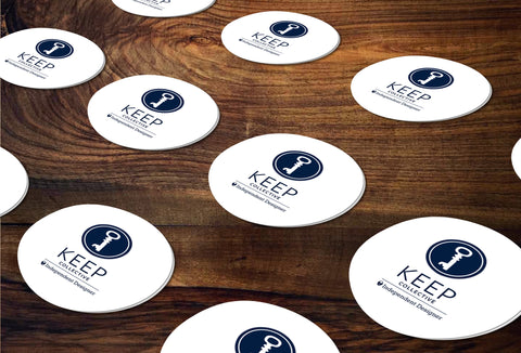 KEEP Collective Round Stickers/Envelope Seals - Independent Designer Business Branding & Marketing - KC Circle Key Sticker - digital detours