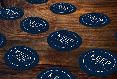 KEEP Collective Round Stickers/Envelope Seals - Independent Designer Business Branding & Marketing - KC Navy Sticker - digital detours