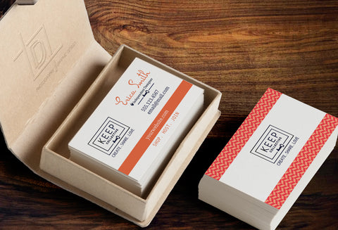KEEP Collective 2-Sided Business Card Template - Independent Designer Business Branding & Marketing - KC Orange Herringbone Business card - digital detours