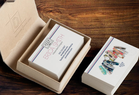 KEEP Collective 2-Sided Business Card Template - Independent Designer Business Branding & Marketing - KC Pink Triangle Business card - digital detours