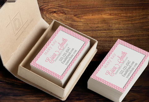 Mary Kay Business Card Template - Independent Consultant Business Branding & Marketing - MK Pink Herringbone Business card - digital detours