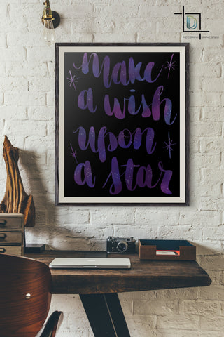 Make a Wish PDF Printable Wall Art - Digital Print - Handwritten Quote - digital detours