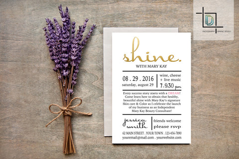 Mary Kay Party Invite - Independent Consultant Business Branding & Marketing - Mary Kay Gold Shine Invite - digitaldetours