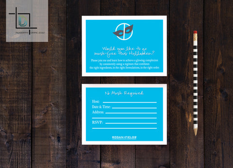 Rodan + Fields 2-Sided DF Party Invite - Independent Consultant Business Branding & Marketing - Mask Free Front - digital detours