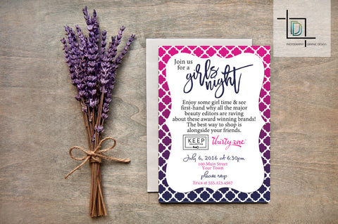 thirty-one or Multiple Vendor PDF Party Invite - Independent Consultant Business Branding & Marketing - Moroccan Girls Night Invite - digital detours