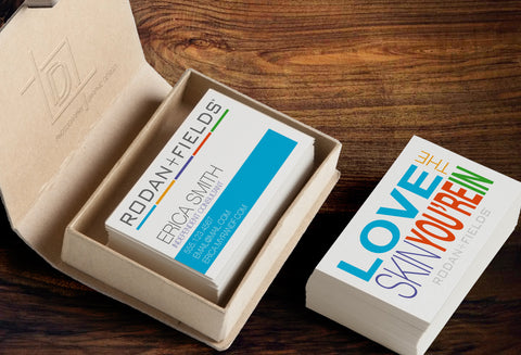 Rodan + Fields 2-Sided Business Card Template - Independent Consultant Business Branding & Marketing - RF Big Letter Love Skin Business Card - digital detours