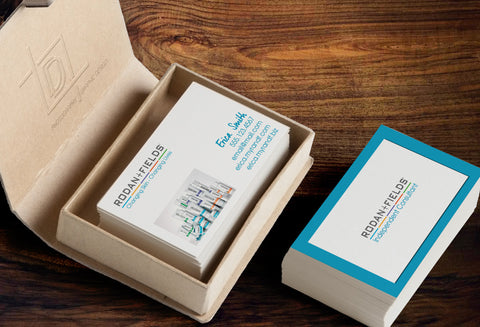 Rodan + Fields 2-Sided Business Card Template - Independent Consultant Business Branding & Marketing - RF Blue Border Business Card - digital detours