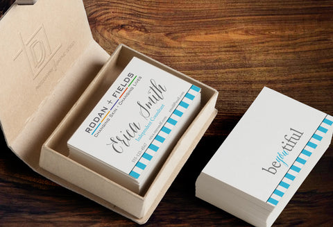 Rodan + Fields 2-Sided Business Card Template - Independent Consultant Business Branding & Marketing - RF Blue Bottom Stripes Business card - digital detours