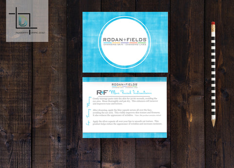 Rodan + Fields 2-Sided Mini Facial Card - Independent Consultant Business Branding & Marketing - RF Blue Double Circle Mini Facial - digital detours