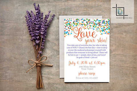 Rodan + Fields PDF Party Invite - Independent Consultant Business Branding & Marketing - RF Confetti Love Invite - digital detours