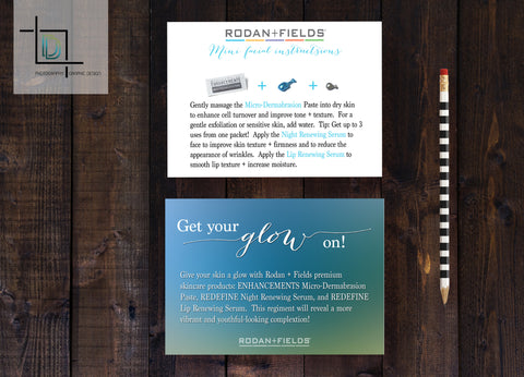 Rodan + Fields 2-Sided Mini Facial Card - Independent Consultant Business Branding & Marketing - RF Get your glow on Mini Facial Card - digital detours