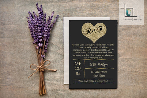 Rodan + Fields PDF Party Invite - Independent Consultant Business Branding & Marketing - RF Gold glitter heart Invite - digital detours