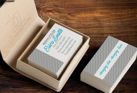 Rodan + Fields 2-Sided Business Card Template - Independent Consultant Business Branding & Marketing - RF Gray Herringbone Business card - digital detours