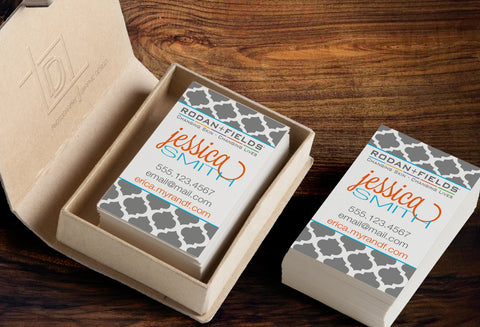 Rodan + Fields Business Card Template - Independent Consultant Business Branding & Marketing - RF Gray Moroccan Business card - digital detours