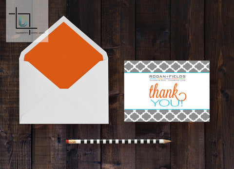 Rodan + Fields Thank You Card - Independent Consultant Business Branding & Marketing - RF Gray Moroccan Thank You Card - digital detours
