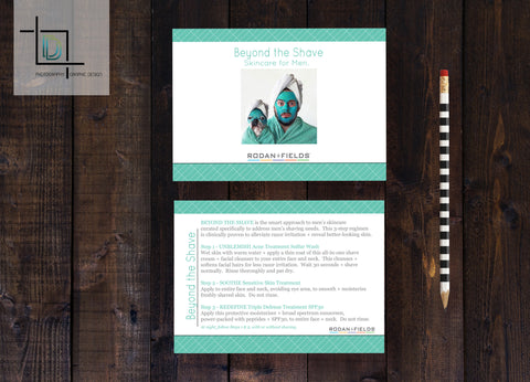 Rodan + Fields 2-Sided Beyond the Shave Card - Independent Consultant Business Branding & Marketing - RF Green Tile BtS Card - digital detours
