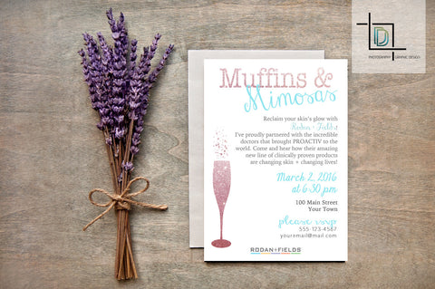Rodan + Fields PDF Party Invite - Independent Consultant Business Branding & Marketing - RF Muffins and Mimosas Invite - digital detours