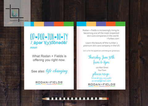 Rodan + Fields 2-Sided DF Party Invite - Independent Consultant Business Branding & Marketing - RF Opportunity Invite - digital detours