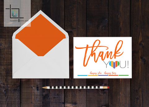 Rodan + Fields Thank You Card - Independent Consultant Business Branding & Marketing - RF Orange Thank You Card - digital detours