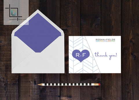 Rodan + Fields Thank You Card - Independent Consultant Business Branding & Marketing - RF Purple Herringbone Thank you card - digital detours