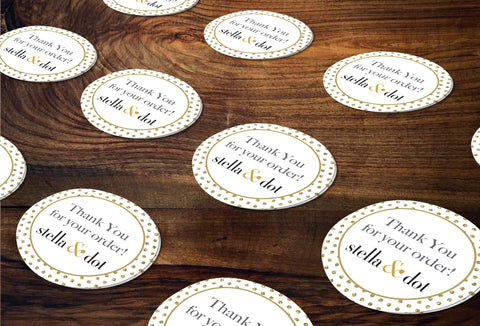 stella & dot Round Stickers/Envelope Seals - Independent Consultant Business Branding & Marketing - SD Gold Dots Sticker - digital detours