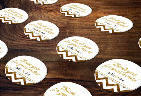 stella & dot Round Stickers/Envelope Seals - Independent Consultant Business Branding & Marketing - SD Gold Foil Chevron Sticker - digital detours