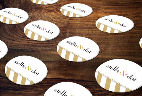 stella & dot Round Stickers/Envelope Seals - Independent Consultant Business Marketing - SD Gold Dots StickerSD Gold Glitter Stripes Sticker - digital detours