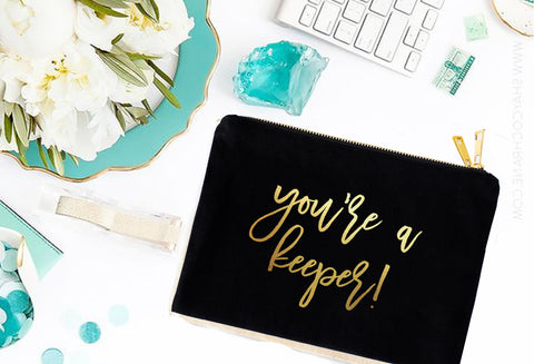 KEEP Collective Gold or Silver Foil you're a keeper Cosmetic Bag - digital detours
