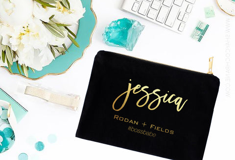 Personalized Rodan + Fields Gold or Silver Foil #bossbabe Cosmetic Bag - digital detours