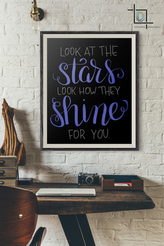Stars shine for you PDF Printable Wall Art - Digital Print - Handwritten Quote - digitaldetours