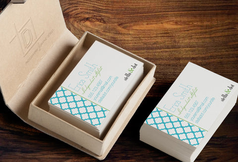 stella & dot Business Card Template - Independent Consultant Business Branding & Marketing - Stella Blue Moroccan Business card - digital detours