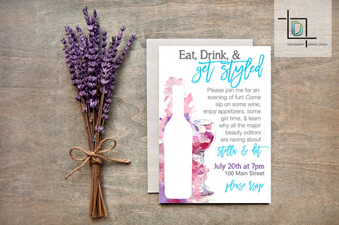stella & dot PDF Party Invite - Independent Consultant Business Branding & Marketing - Stella Get Styled Wine Invite - digital detours